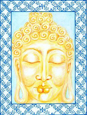 Devotional Drawing - Golden Buddha by Suzan  Sommers