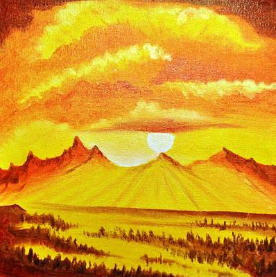Mountain Painting - Golden Dawn by Jagdish Karial