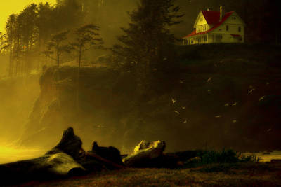Red Roof Photograph - Golden Dusk At Heceta by Bonnie Bruno
