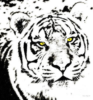Photograph - Golden Eyed Tiger Pen And Ink - A Wildlife Paintograph by Christine S Zipps