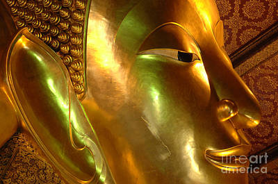 Historic Site Photograph - Golden Face Of Buddha by Bob Christopher