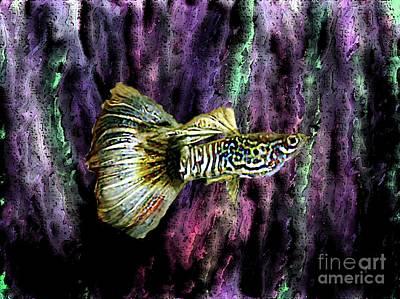 Golden Fish Print by Mario Perez