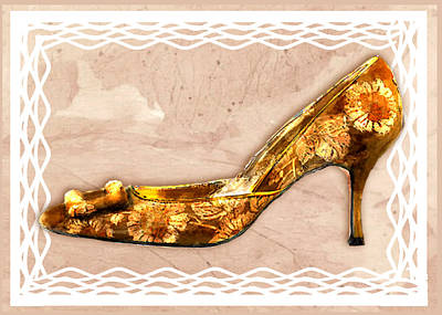 Footwear Painting - Golden Floral Royalty Shoe by Elaine Plesser