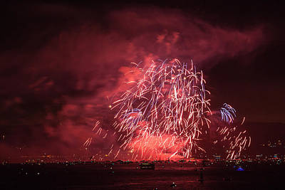 Photograph - Golden Gate 75th Fireworks 13 by Peter Dyke