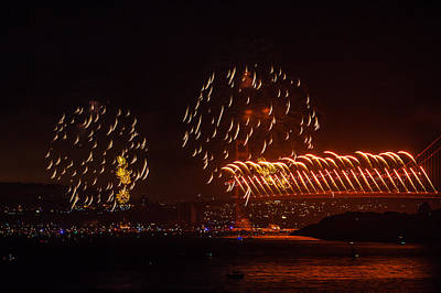 Photograph - Golden Gate 75th Fireworks 22 by Peter Dyke