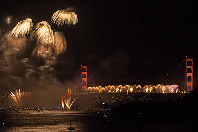 Photograph - Golden Gate 75th Fireworks 33 by Peter Dyke