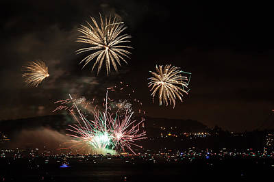 Photograph - Golden Gate 75th Fireworks 9 by Peter Dyke