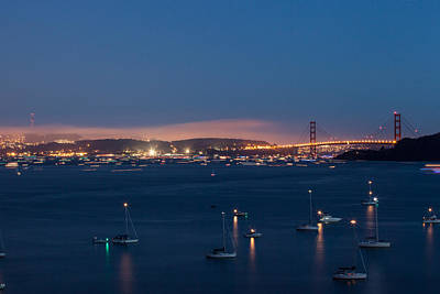 Photograph - Golden Gate 75th Fireworks The Gathering by Peter Dyke