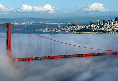 Photograph - Golden Gate Bridge And Downtown San Francisco by Jeff Lowe
