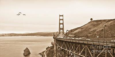 Golden Gate Bridge In Sepia Print by Betty LaRue