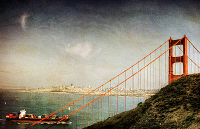 Photograph - Golden Gate Bridge With Boat San Francisco by Natasha Bishop