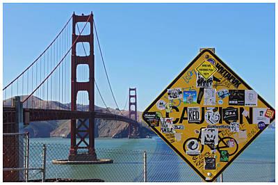 Golden Gate Stickers Print by Cedric Darrigrand