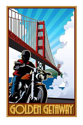 Two Wheeler Digital Art - Golden Getaway by Steven Schader