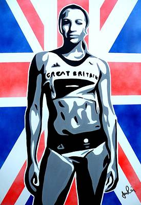 Jessica Ennis Painting - Golden Girl Jess by Ian  King