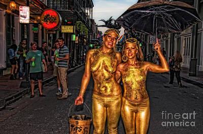 Golden Girls Of Bourbon Street  Art Print by Kathleen K Parker