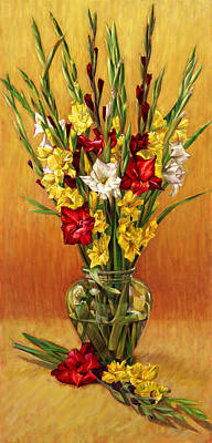 Painting - Golden Gladiolus In Red by Nancy Tilles