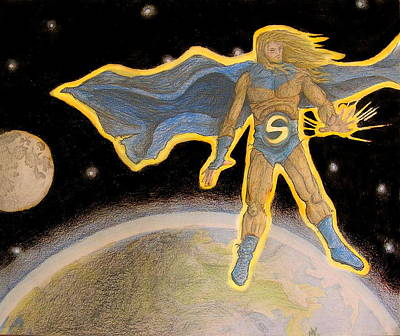 Sentry Marvel Drawing - Golden Guardian by Nicholas Vermes