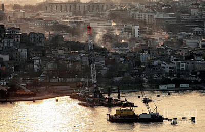 Golden Haze In Istanbul Art Print by John Rizzuto