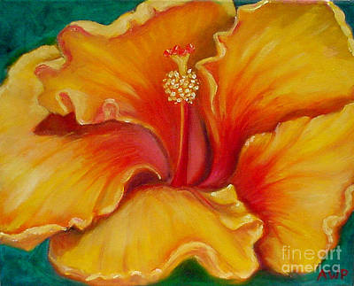 Painting - Golden Hibiscus by Audrey Peaty