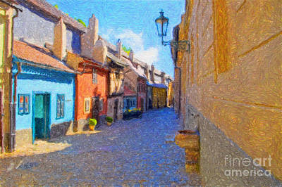 Prague Digital Art Digital Art - Golden Lane by Diane Macdonald