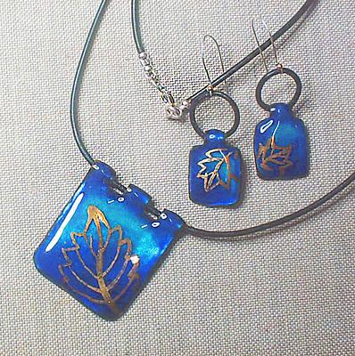 Enamel On Copper Jewelry - Golden Leaves 2 by Asya Ostrovsky