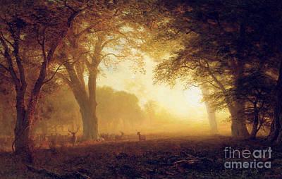 Deer Oil Painting - Golden Light Of California by Albert Bierstadt