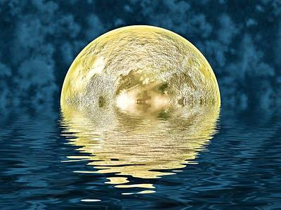 Reflecting Water Digital Art - Golden Moon by Sharon Lisa Clarke