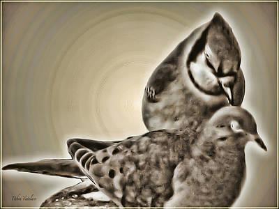 Bird On The Ground Mixed Media - Golden Odds by Debra     Vatalaro