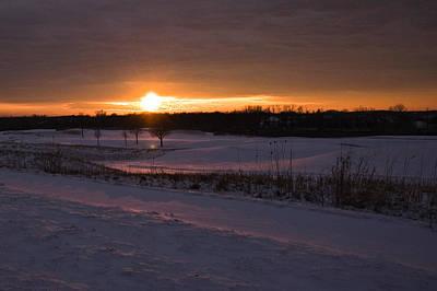Background Photograph - Golden Orange Winter Sunset Over The Golf by LeeAnn McLaneGoetz McLaneGoetzStudioLLCcom