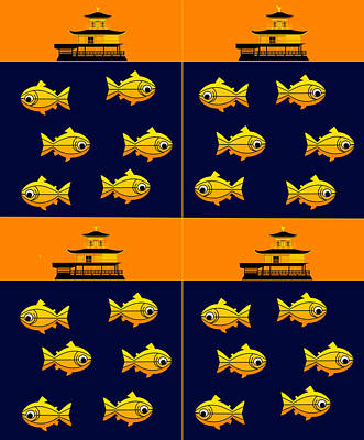 Golden Trout Digital Art - Golden Pavilion In Kyoto Japan And Golden Trouts by Asbjorn Lonvig
