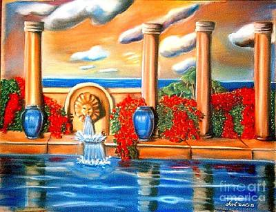 Painting - Golden Pillers Reflection Pond by Jose Breaux