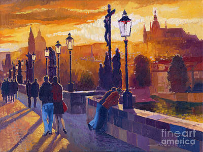 Building Wall Art - Painting - Golden Prague Charles Bridge Sunset by Yuriy Shevchuk