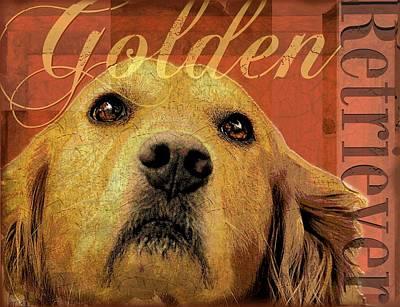Retrievers Digital Art - Golden Retriever by Wendy Presseisen