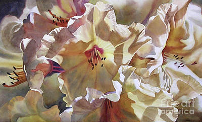 White Flowers Painting - Golden Rhododendron by Sharon Freeman