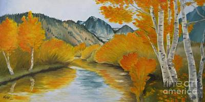 Print featuring the painting Golden Serenity by Jindra Noewi