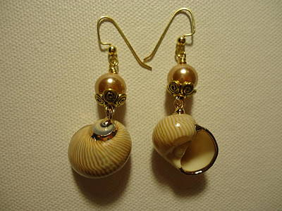 Wire Photograph - Golden Shell Earrings by Jenna Green