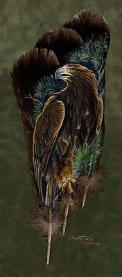 Eagle Painting - Golden Splendor by Sandra SanTara