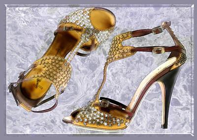 Footwear Painting - Golden Studded Stilettos by Elaine Plesser