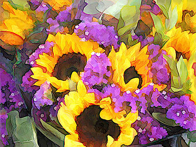 Digital Sunflower Painting - Golden Sunflowers And Purple Statice by Elaine Plesser