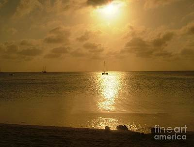Photograph - Golden Sunset In Aruba by Terri Thompson