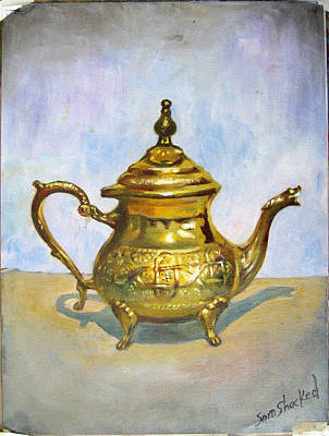 Golden Tea Kettle Art Print