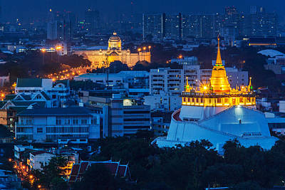 Golden Temple Bangkok Night Art Print by Arthit Somsakul