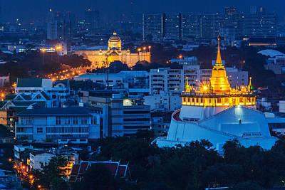 Photograph - Golden Temple Bangkok Night by Arthit Somsakul