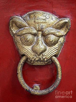 Good Luck Photograph - Golden Temple Door Knocker  by Carol Groenen