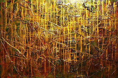Abstract Seascape Mixed Media - Golden Touch by Henry Parsinia