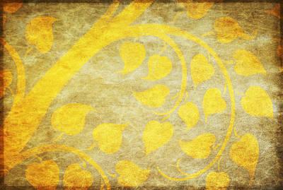 Parchment Painting - Golden Tree Pattern On Paper by Setsiri Silapasuwanchai