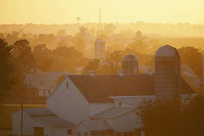 Golden Twilight Upon The Silos And Farm Art Print by Michael S. Lewis