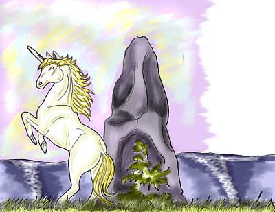 Golden Unicorn By The Sea Original