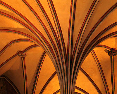 Golden Vaulted Ceiling In Malbork Castle II Art Print by Greg Matchick