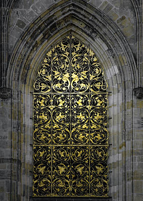 Brass Leafs Photograph - Golden Window - St Vitus Cathedral Prague by Christine Till